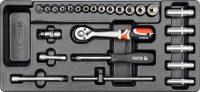 """Įrankių rinkinys į vežimėlius - 1/4"""" galvutės su rankenom 25vnt. (YT-5541)"""