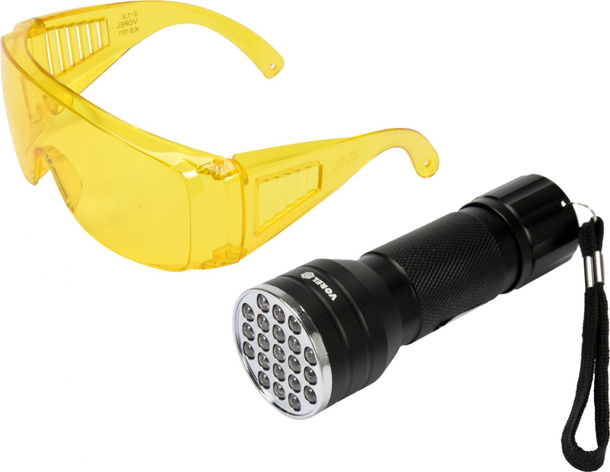 UV FLASHLIGHT 21 LED AND GLASSES SET (82756)