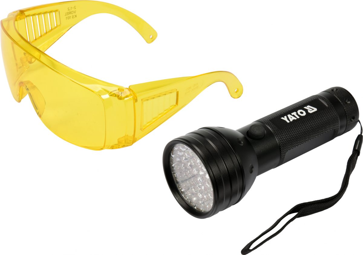 UV FLASHLIGHT 21 LED AND GLASSES SET (YT-08581)