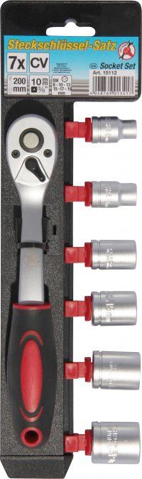 "Socket Set   10 mm (3/8"") drive   8-19 mm   7 pcs. (15112)"